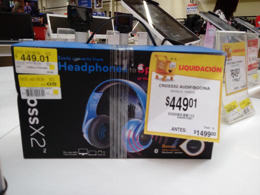 Walmart: audifonos crossX2 a $499.01