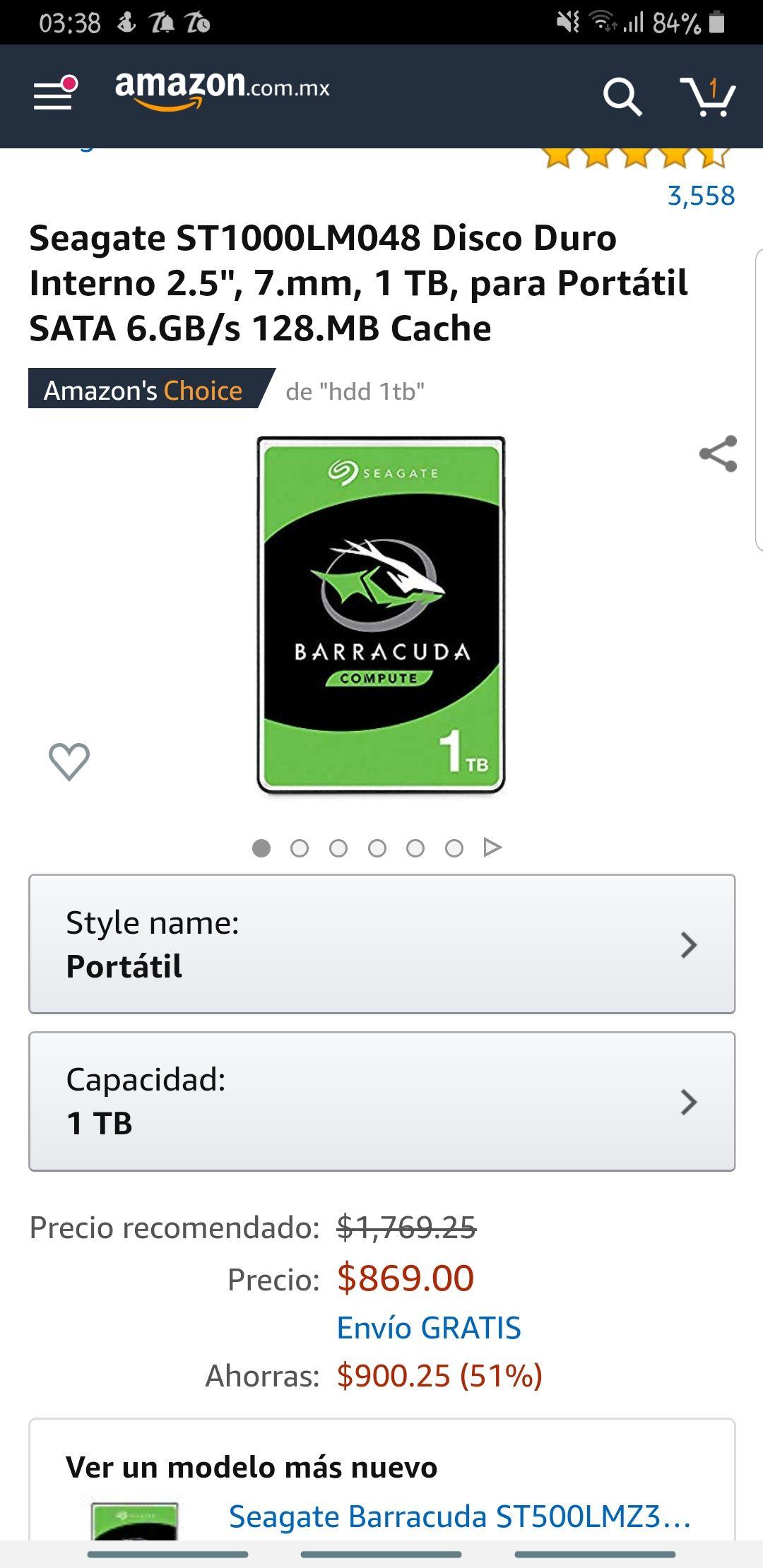 Amazon: Disco duro 1Tb laptop