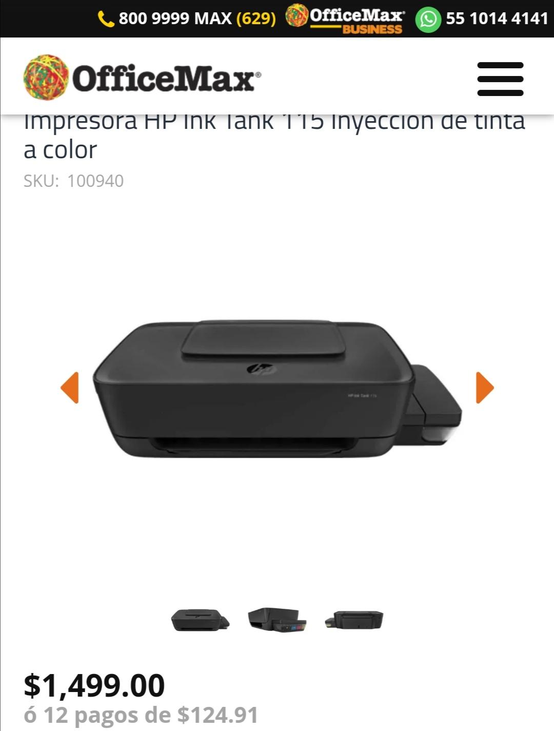 Officemax Impresora HP 115 de tinta continua - Nuevo precio