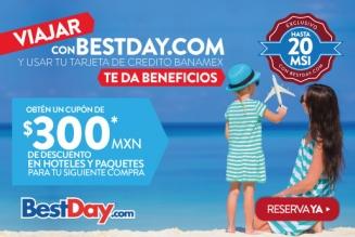 BestDay.com.mx hasta 66% de descuento, bono de 800 pesos para reserva de hotel y 20 meses sin intereses