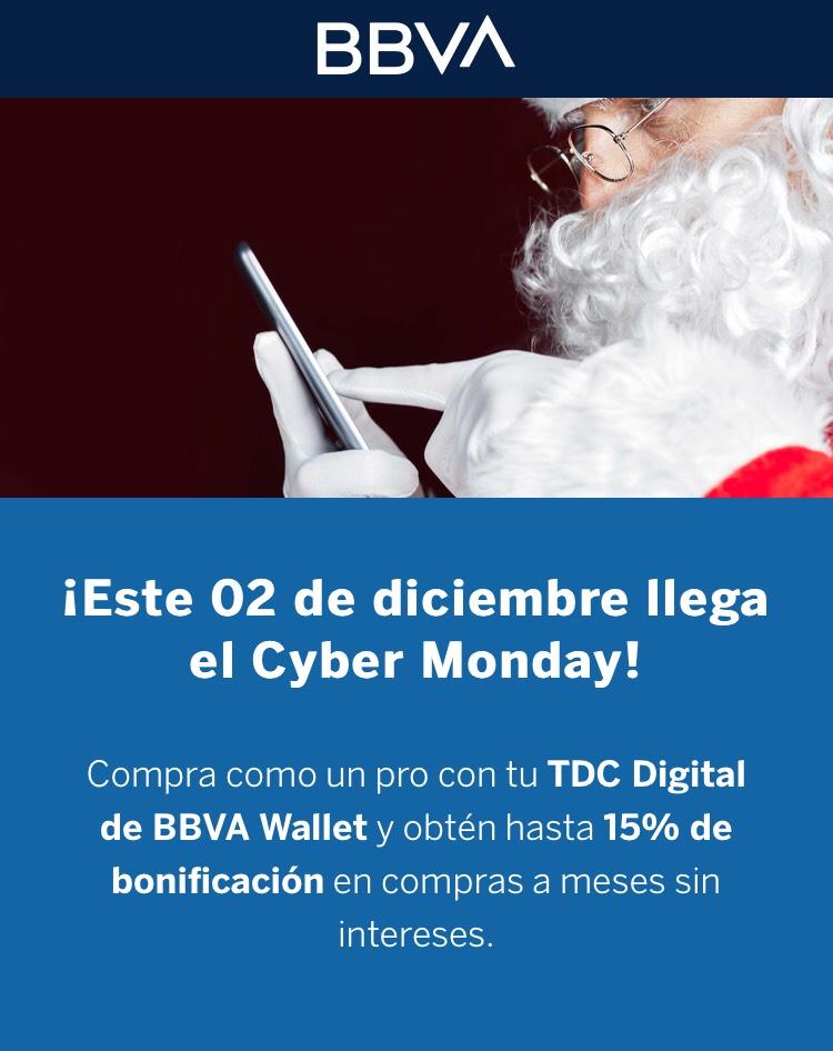 BBVA: MSI + 15% de bonificación en Cyber Monday