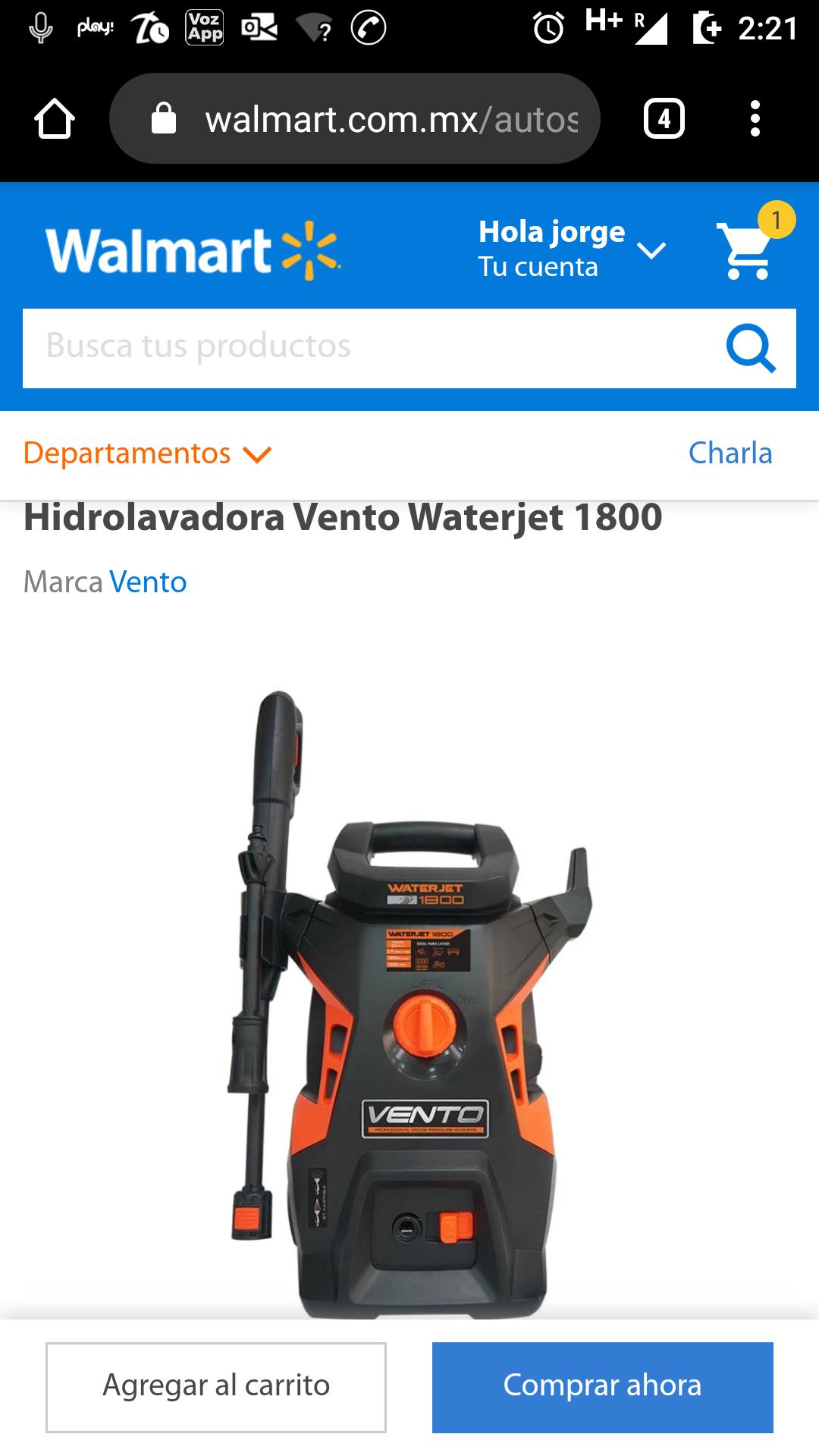 Walmart: Hidrolavadora Vento 1800psi incluye depósito de jabon