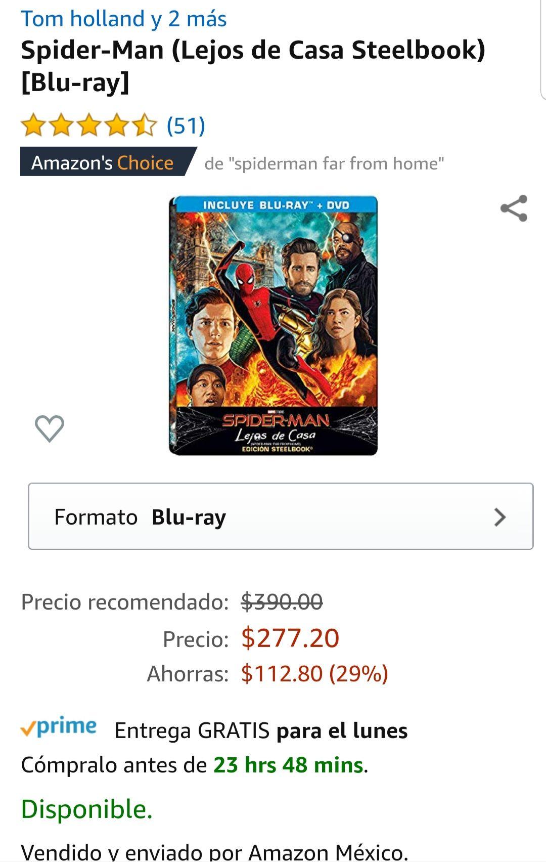 Amazon: Spiderman lejos de casa steelbook