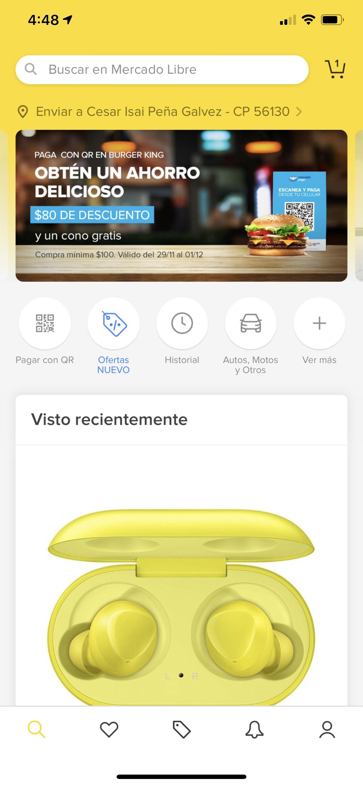 Mercado pago: $80 de descuento en al pagar con QR en Burger King