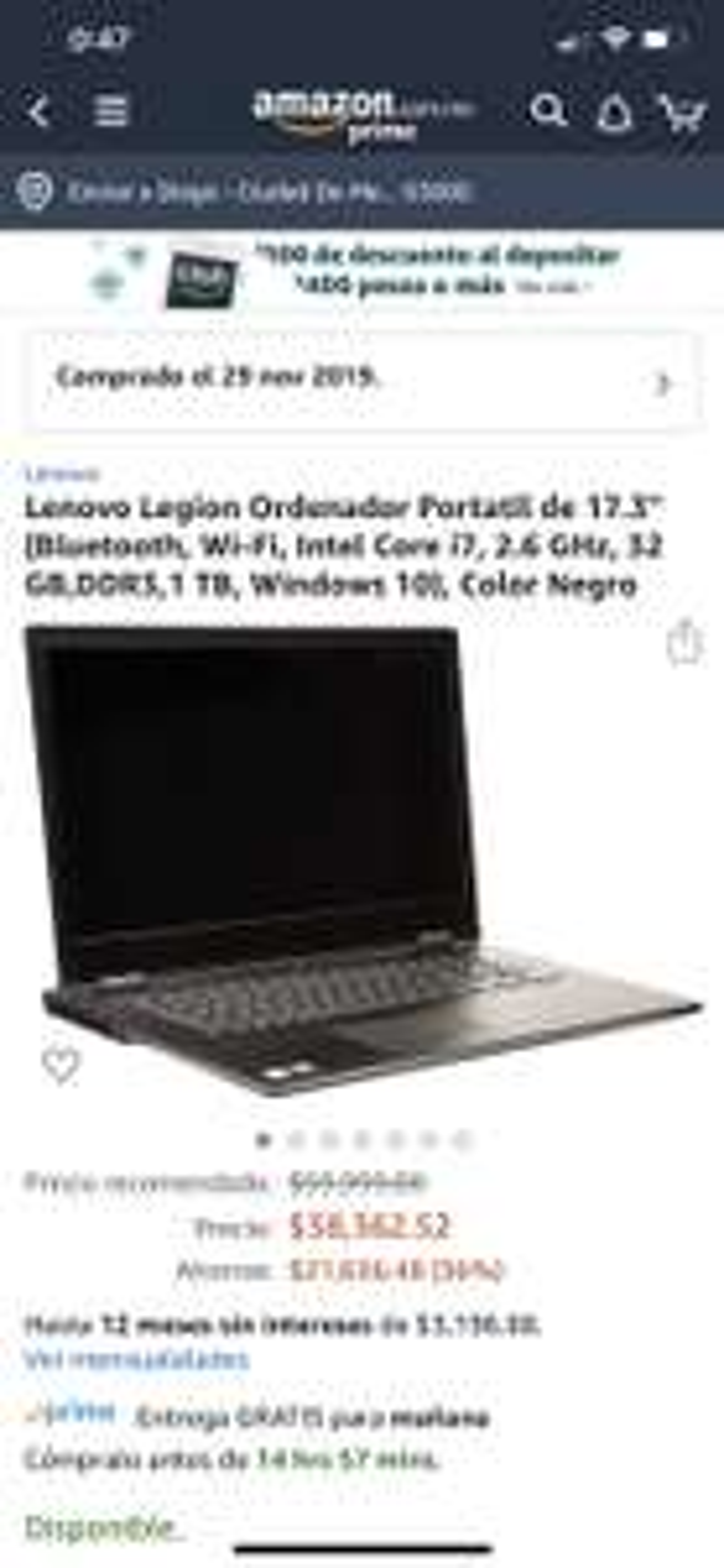 "Amazon: Lenovo Y740 17.3"", RTX 2070, 32gb ram, 1tb HD + 512 gb SSD, i7 9th (pagando con Amex o Banorte)"