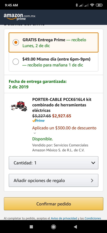 Amazon: PORTER-CABLE PCCK616L4 kit combinado de herramientas eléctricas