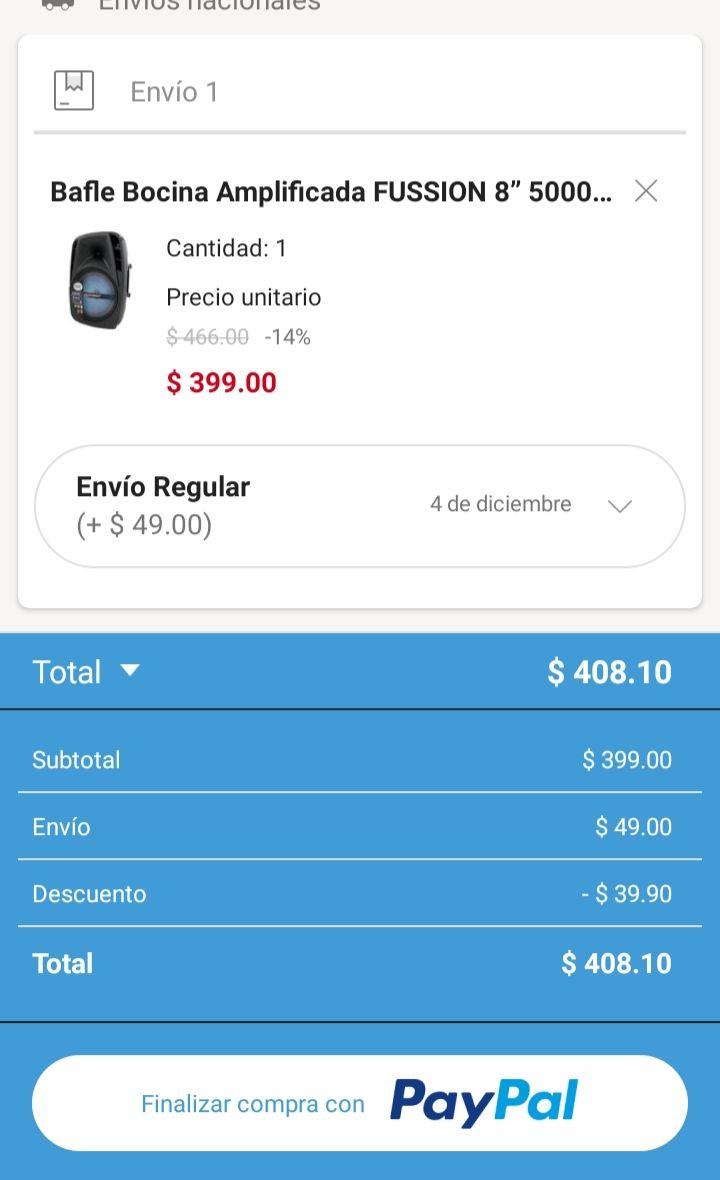 """Linio: Bafle Fussion 8"""" 5000W (pagando con Paypal)"""