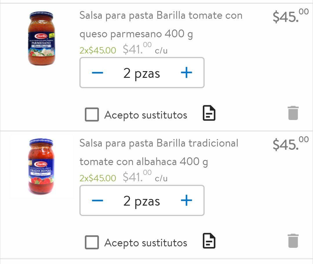 Walmart: Varias salsas para pasta Barilla a 2x$45