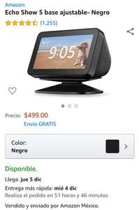 Amazon: Echo Show 5 base ajustable- Negro