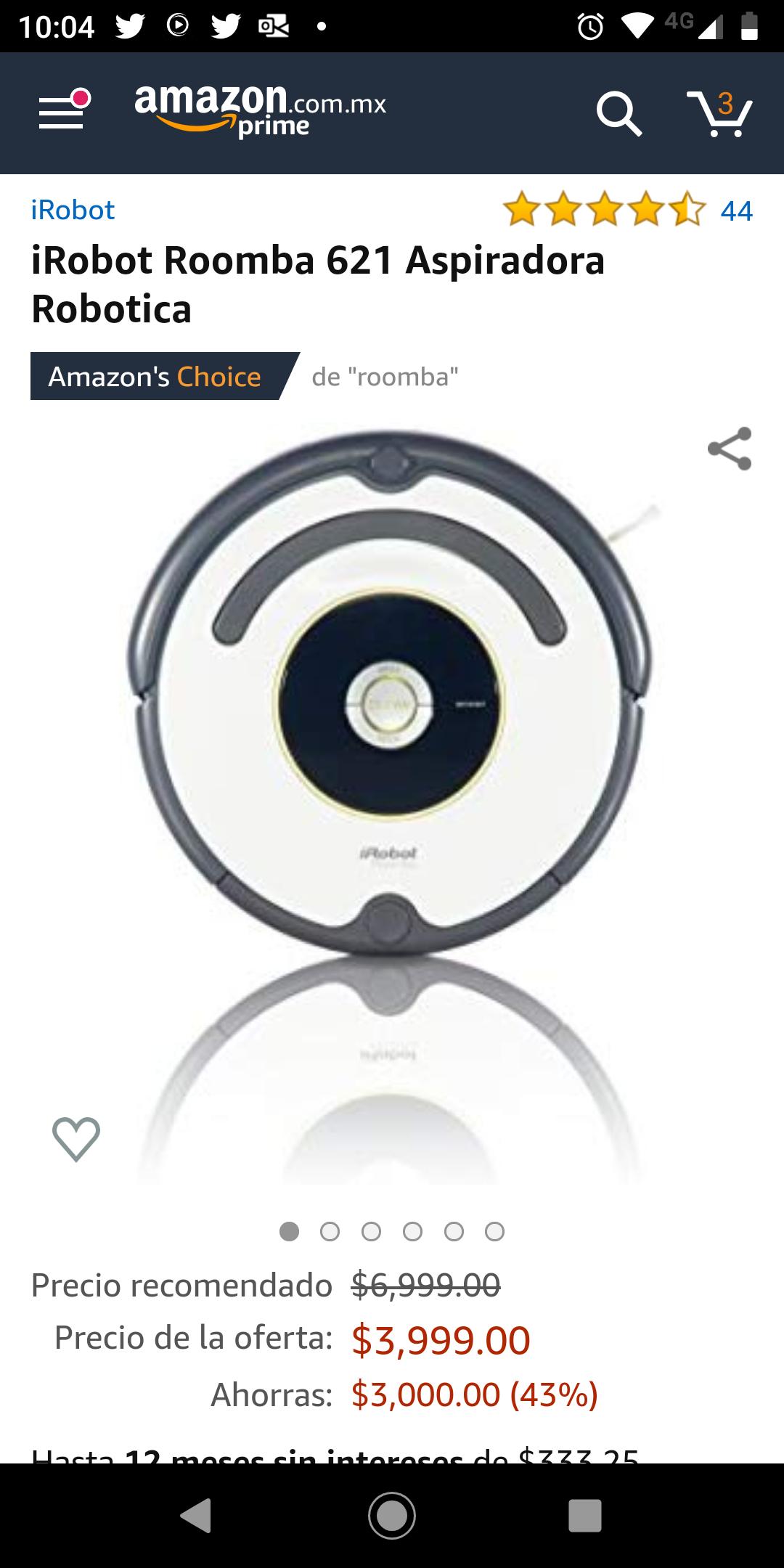 Amazon: iRobot Roomba 621 ($3699 con Banorte y AMEX)