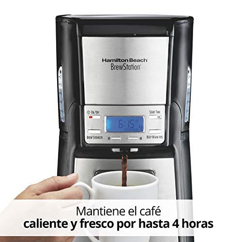 Amazon: Hamilton Beach 48465 Cafetera Programable, Dispensador a Una Mano, 12 tazas, Plata y Negro