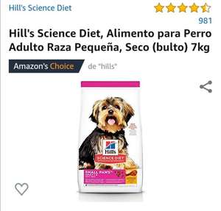 Amazon: Hill's Science Diet, Alimento para Perro Adulto Raza Pequeña, 7kg