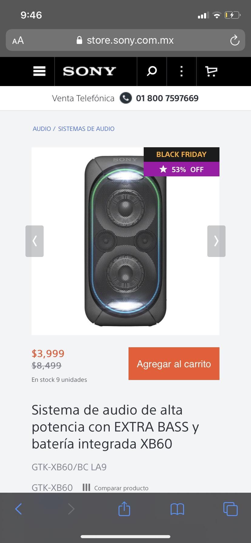 Sony Store: Sistema de audio de alta potencia con EXTRA BASS y batería integrada XB60