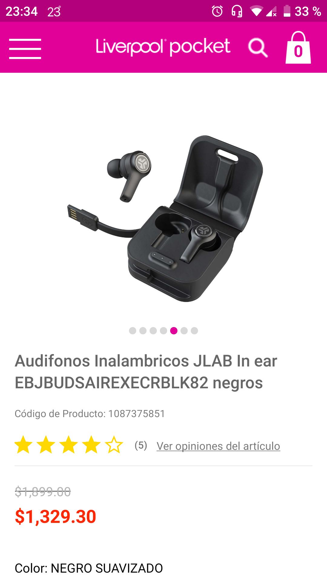 Liverpool en línea: JBUDS AIR EXECUTIVE TRUE WIRELESS de $1900 a solo $1329 pesos