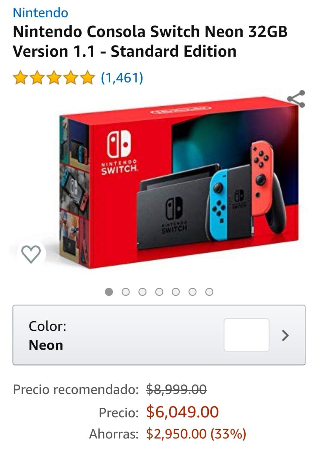 Amazon: Consola Nintendo Switch 1.1 Neón (pagando con BBVA)