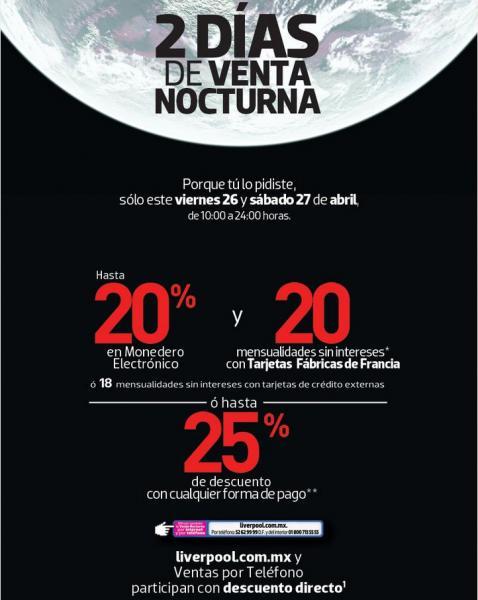 Venta Nocturna Fábricas de Francia abril 26 y 27 (y Liverpool online)