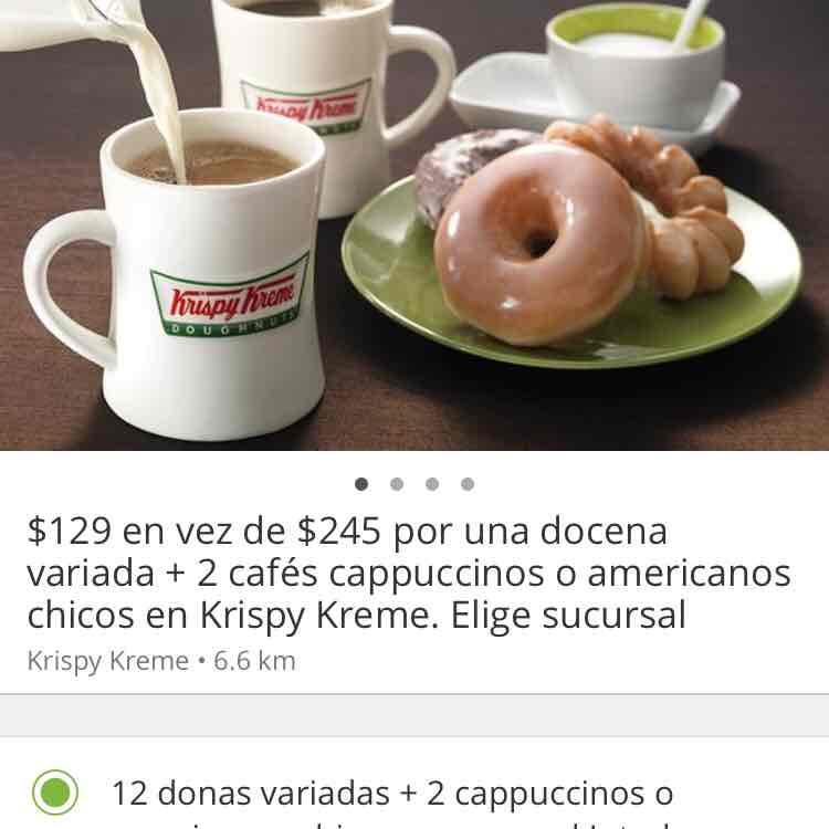 Groupon: 12 Donas variadas + 2 cafés capuccinos o americanos por $129.