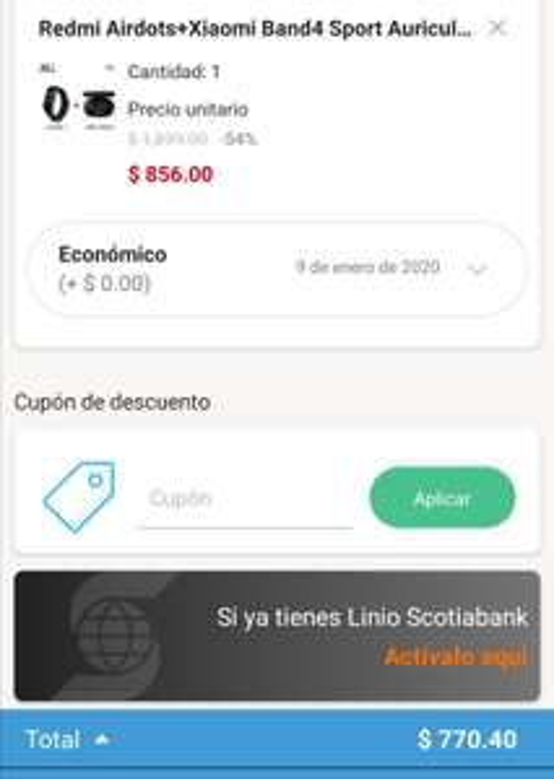 Linio: Xiaomi Mi band4 y Redmi Airdots pagando con paypal