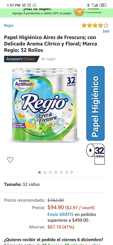 Amazon: 32 rollos Regio