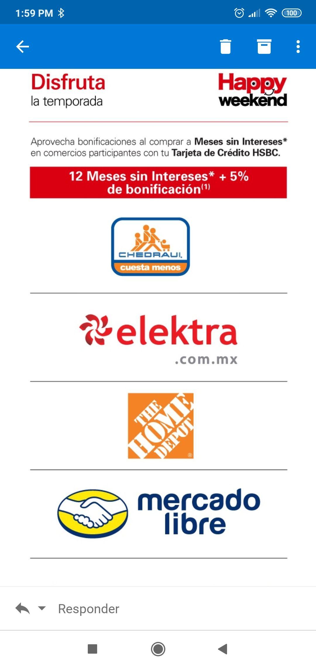 HSBC: 5% bonificacion Mercado libre, Elektra, Bestday, etc.