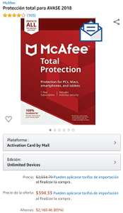 Amazon (Relampago): McAfee Total Protection - All devices- 1 año
