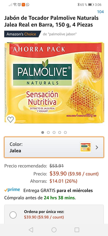 Amazon: Jabón de Tocador Palmolive Naturals Jalea Real en Barra, 150 g, 4 Piezas (comprando 4 piezas y planea y ahorra)