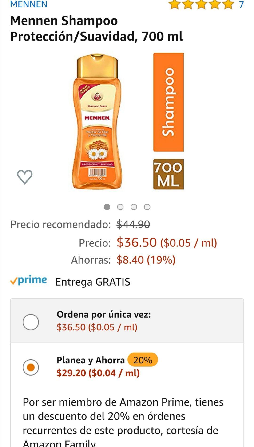 Amazon: Shampoo Mennen Protección/Suavidad 700 ml