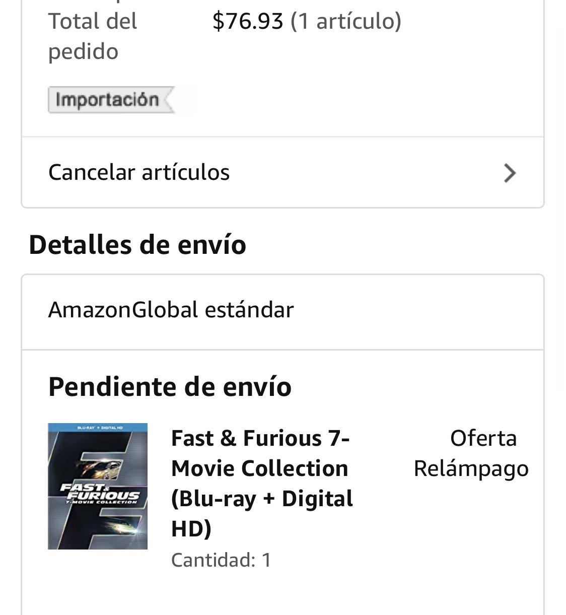 Amazon: Rápidos y furioso - Colección