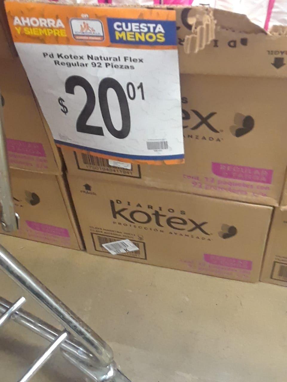 Chedraui: Pantiprotectores 92 piezas, Kotex Natural Flex.