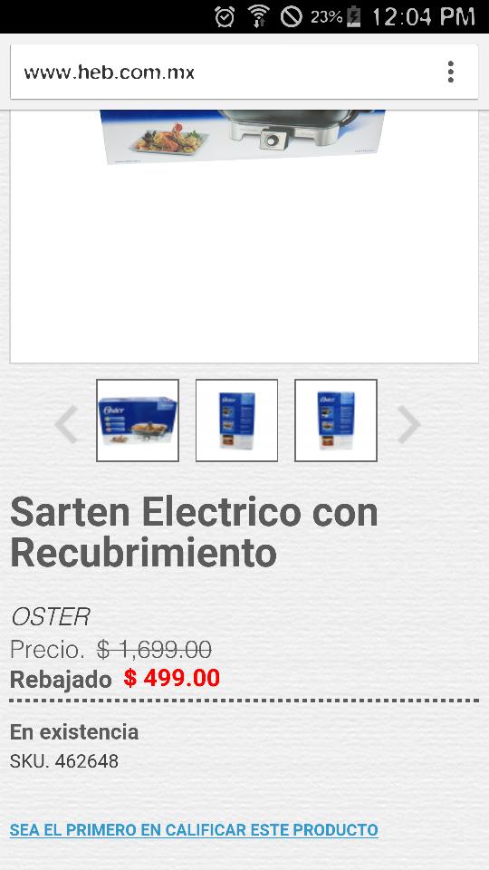 HEB en línea: sartén eléctrico Oster con recubrimiento a $499