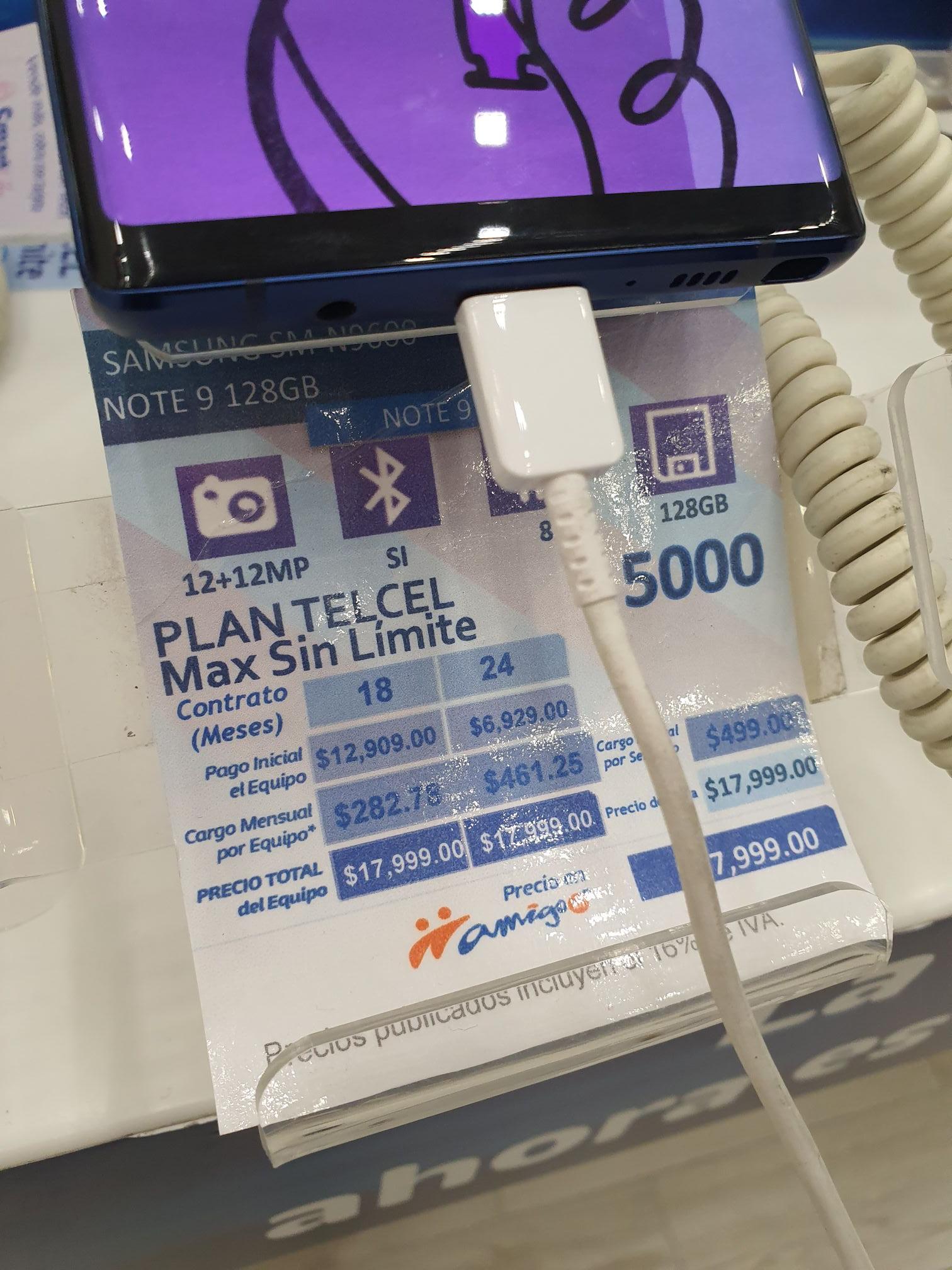 CAC Telcel: Samsung Galaxy Note 9 en plan Telcel Max Sin Límites 5000 plazo forzoso 24 meses