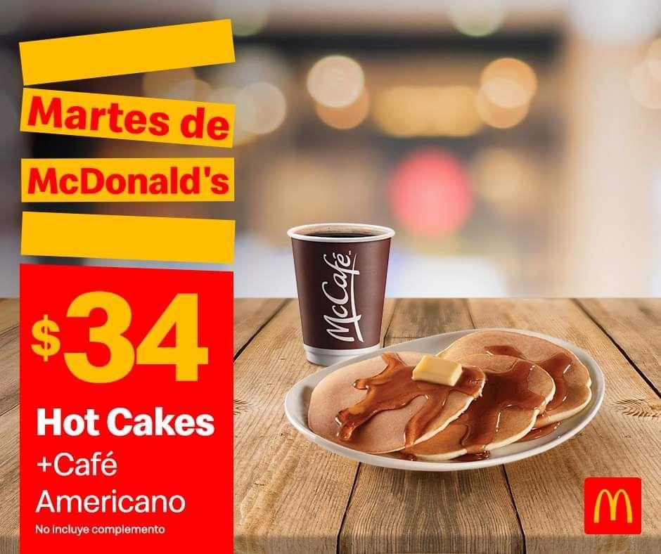 McDonald's: Martes de McDonald's Desayuno 3 Diciembre: Hot Cakes + Café Americano $34