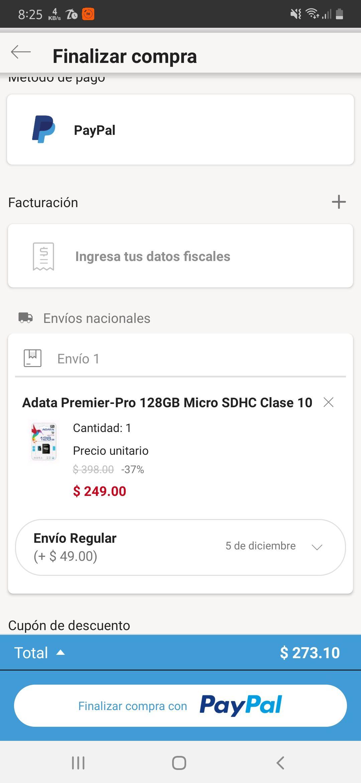 Linio: Micro SD Adata 128 GB (pagando con PayPal)