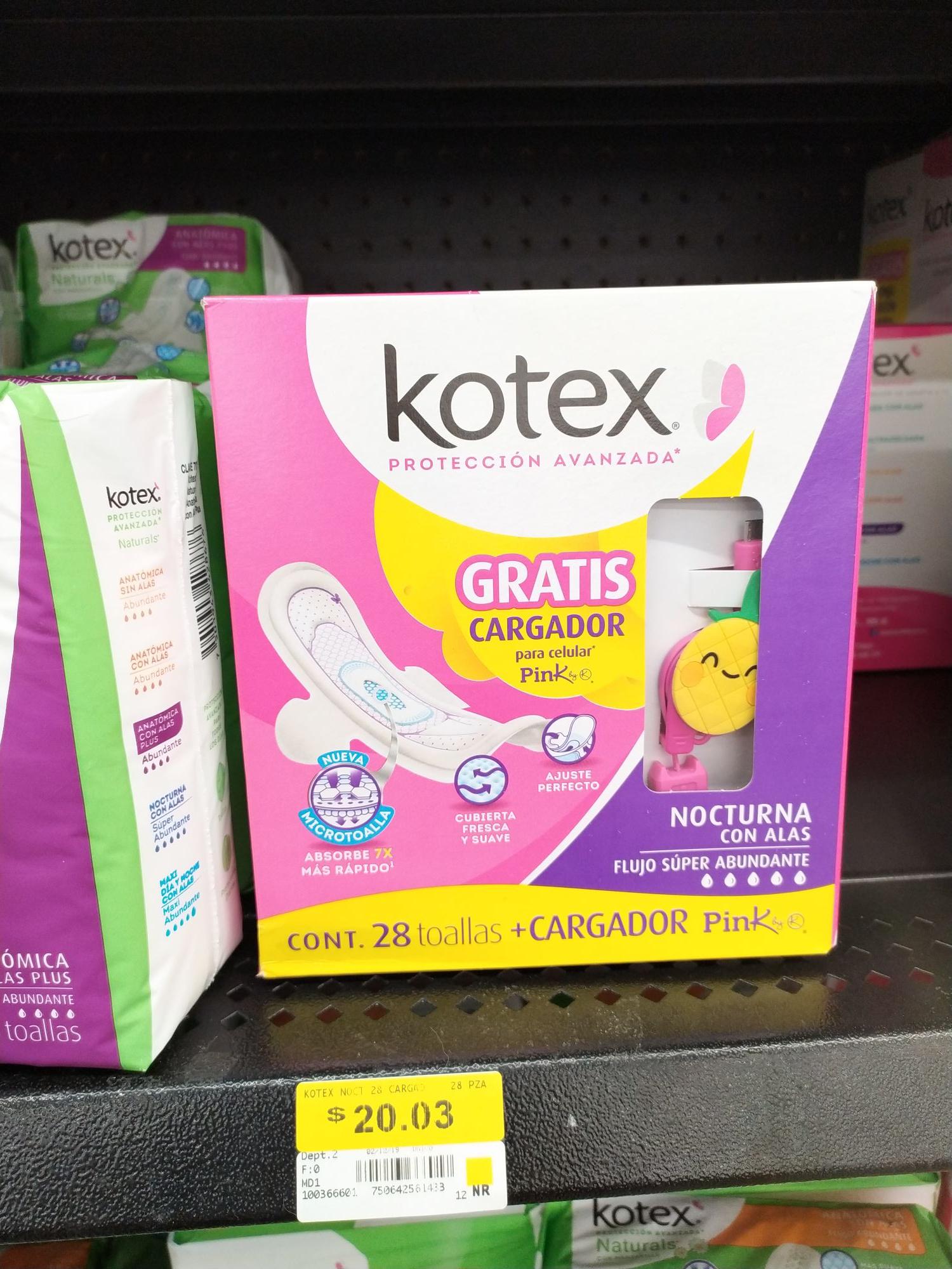 Walmart: Toallas femeninas Kotex + cargador o audífonos Pink