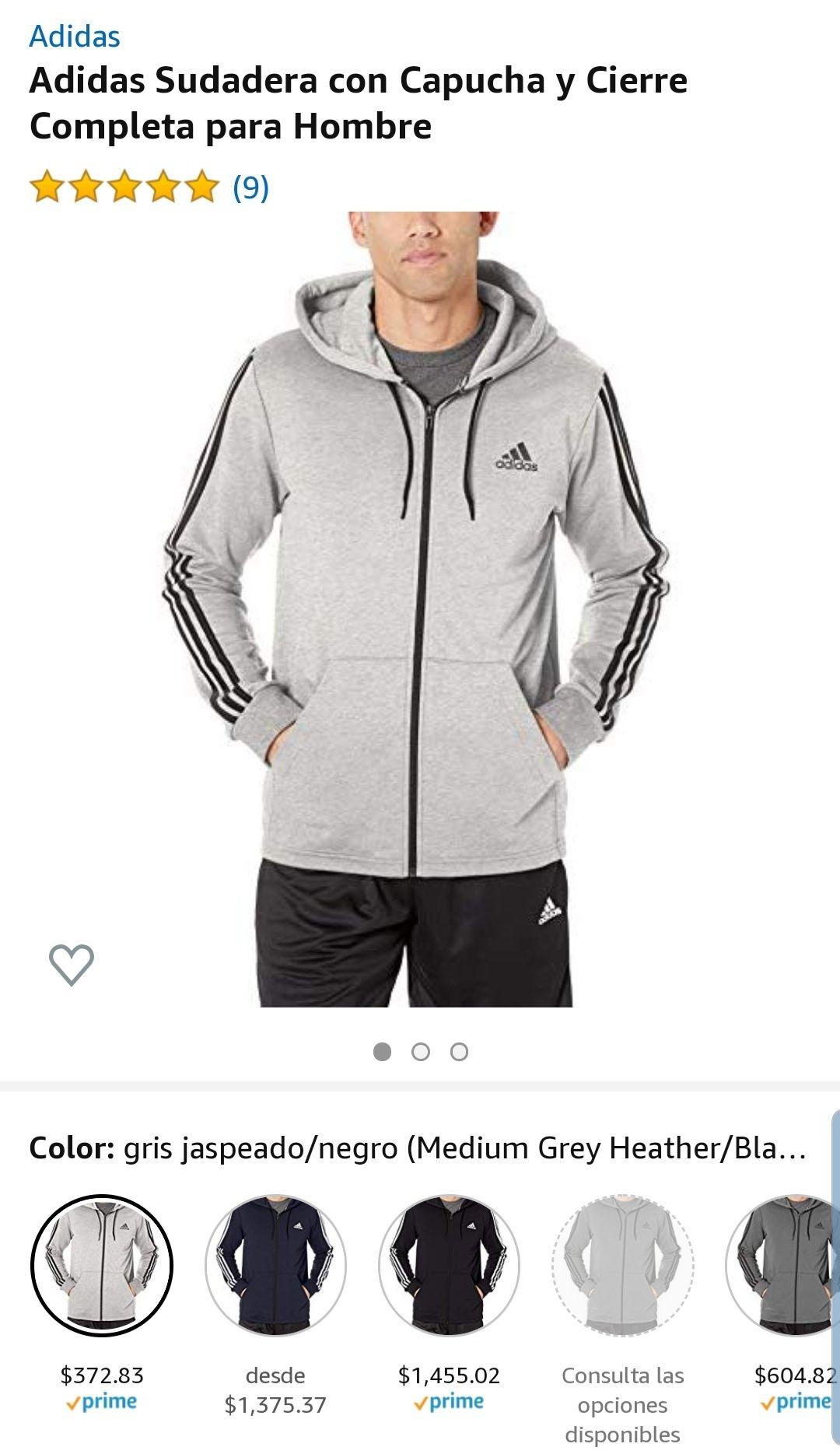 Amazon: $372.83 Talla Larga, Adidas Sudadera para hombre