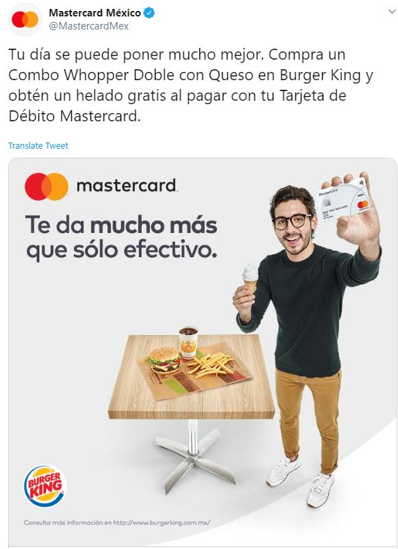 Burger King: cono gratis comprando combo Whopper con mastercard
