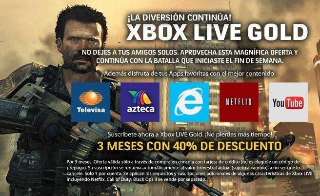 40% de descuento en membresía Xbox Live Gold de 3 meses