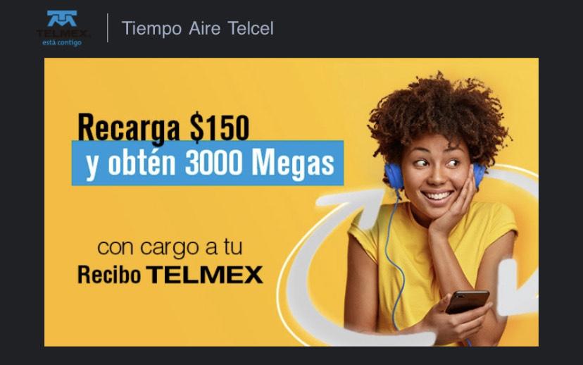 Telmex: recarga $150 Telcel y recibe 3GB