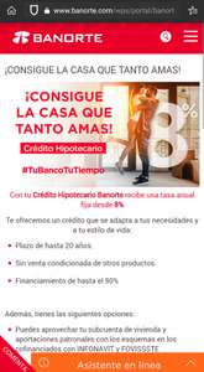 Hipoteca Banorte con tasa anual fija del 8%