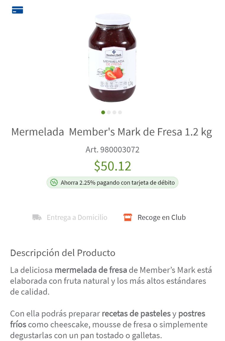 Mermelada Member's Mark de Fresa 1.2 kg