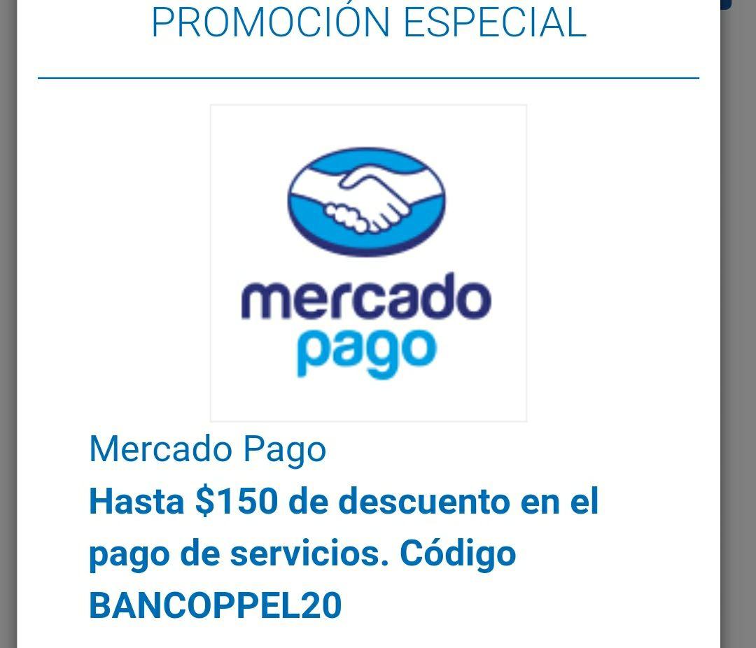 150 de descuento pago de servicios mercado pago BanCoppel