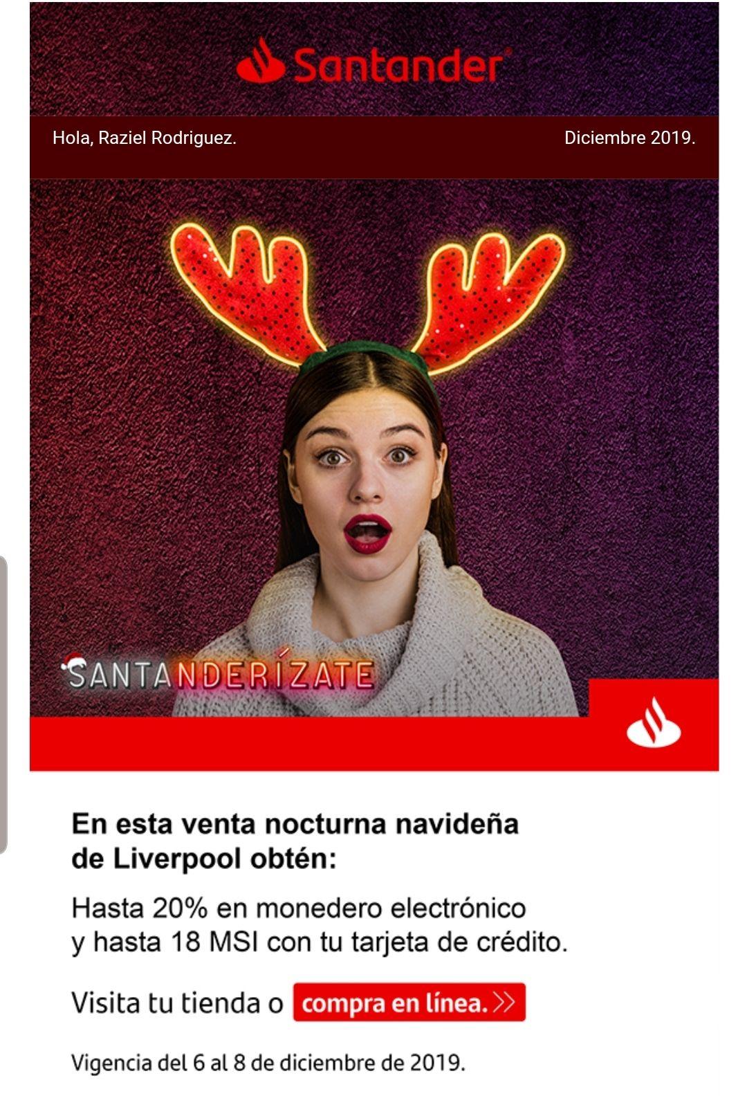 Santander + Liverpool + hasta 20% en monedero + msi