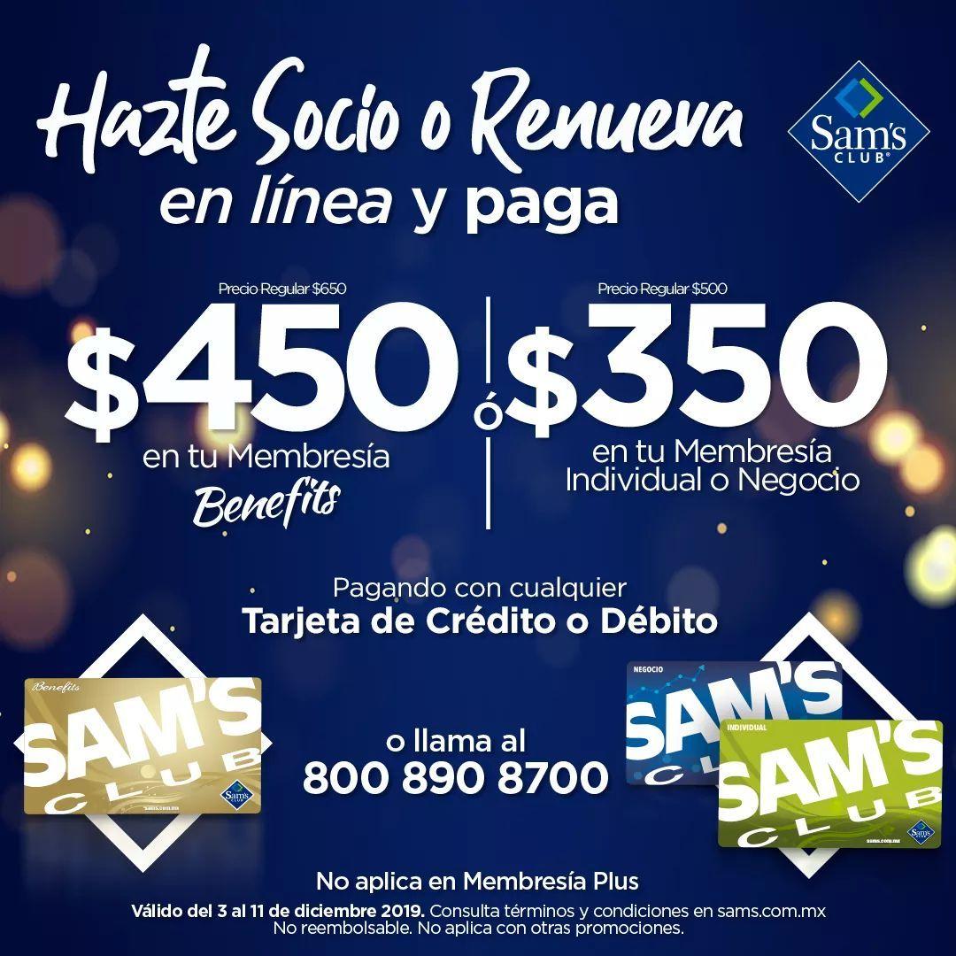 Sam's Club: Promoción en Membresías (Individual o Negocio $350) pagando con tarjeta