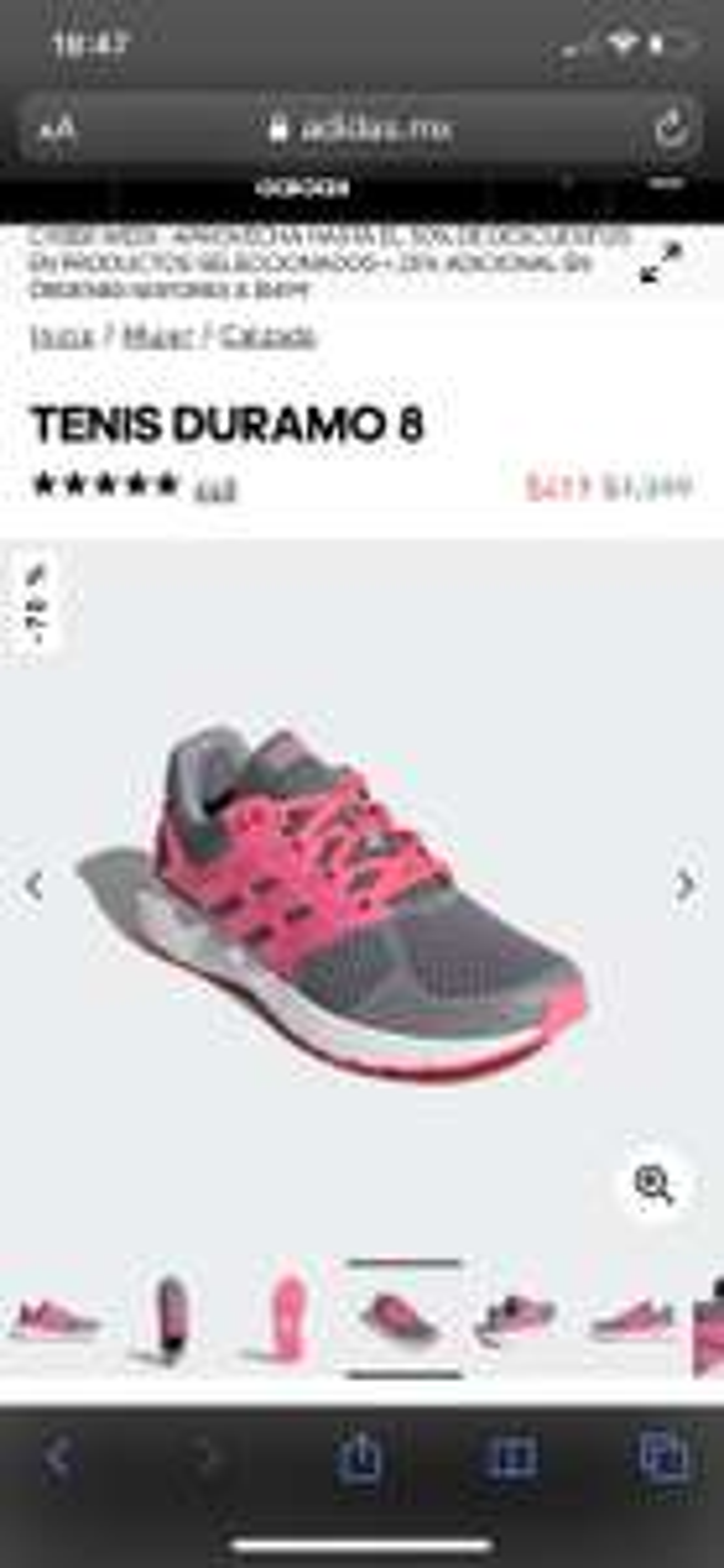 Adidas: Tennis duramo 8 para mujer talla 3