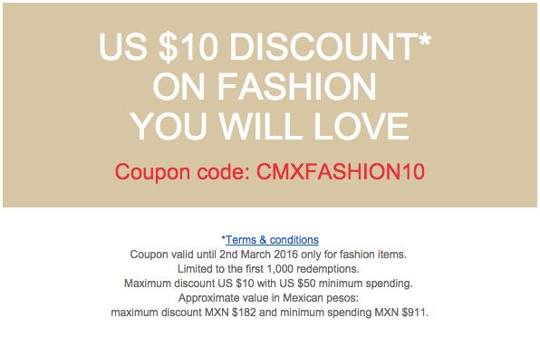 eBay: cupón $10USD en ropa y accesorios en compra mínima de $50USD (y posibilidad de otros $10 menos)