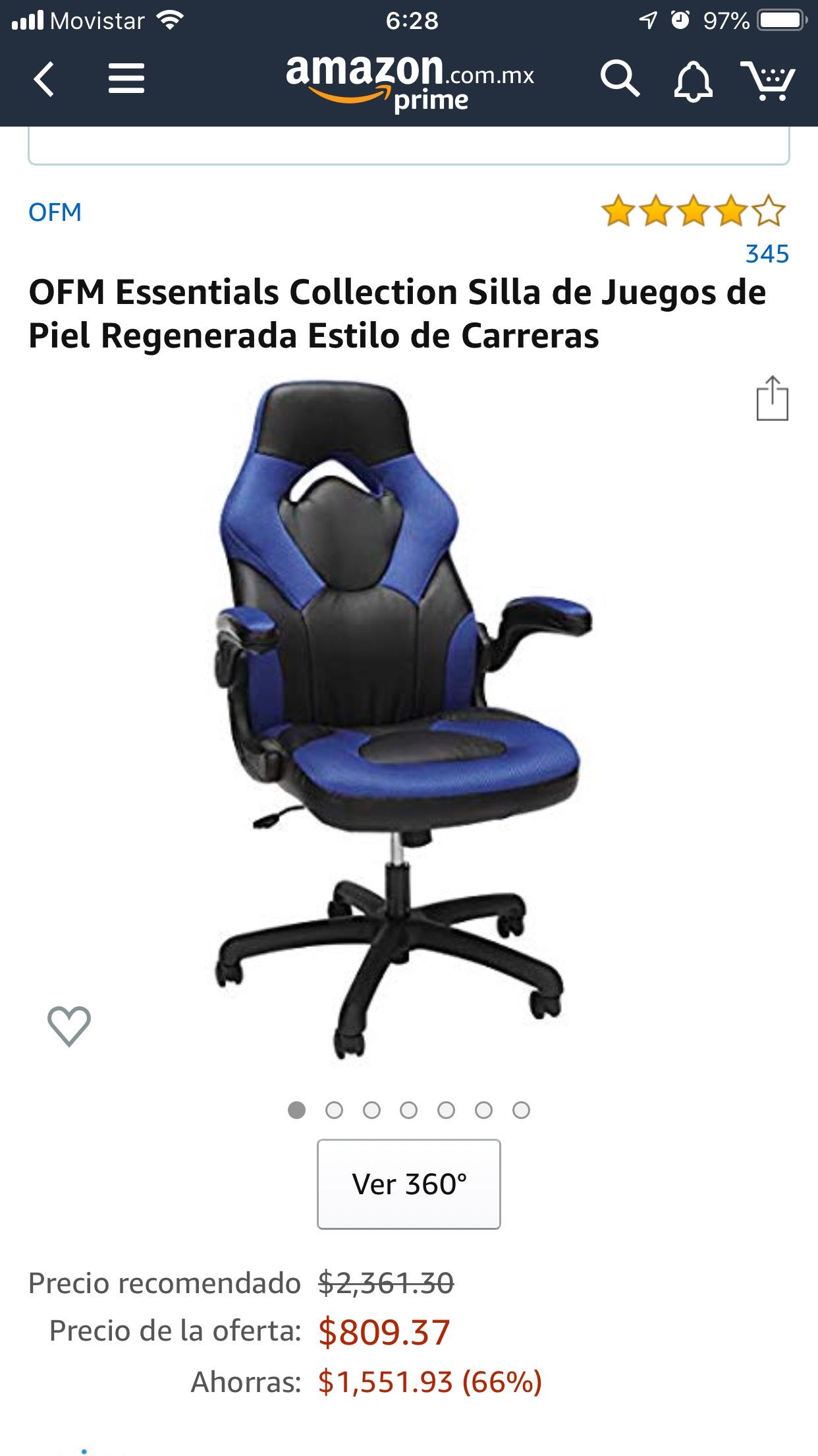 Amazon OFM Essentials Collection Silla de Juegos de Piel Regenerada Estilo de Carreras