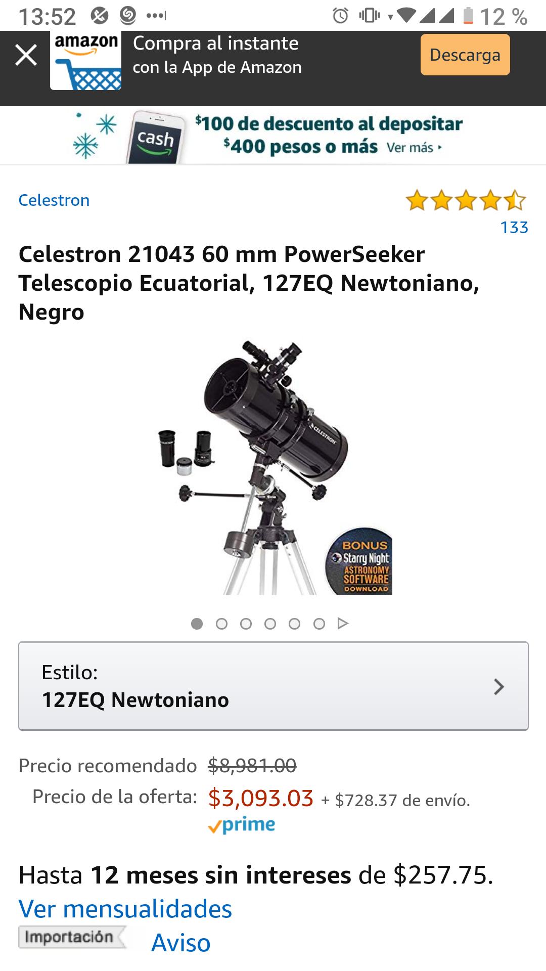 Amazon: Celestron 2104360mm PowerSeeker Telescopio Ecuatorial, 127EQ Newtoniano, Negro