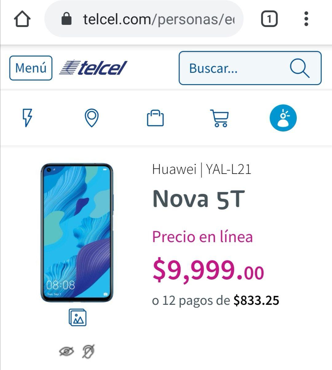Huawei Nova 5 $7,414 con plan Telcel Max 200 ($299)