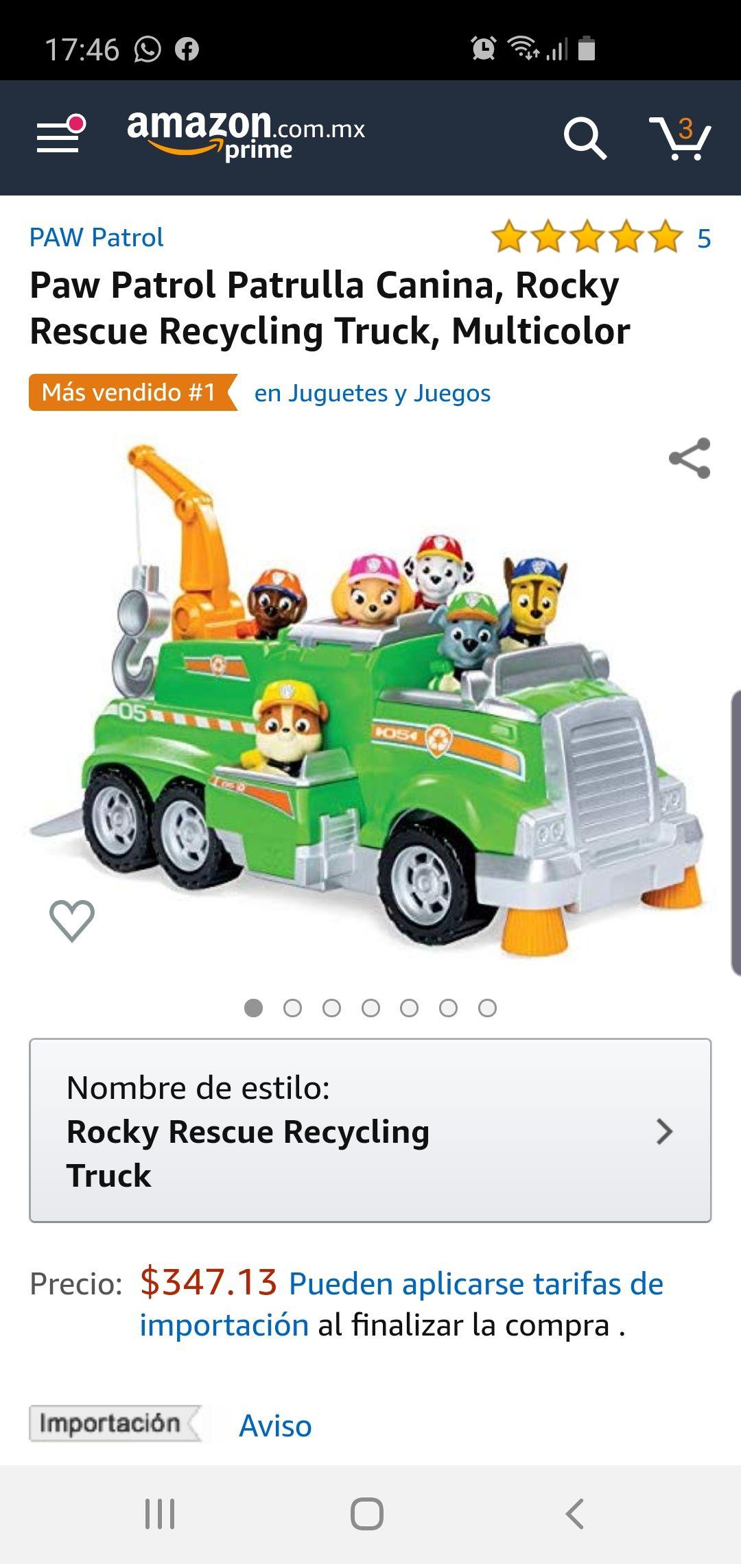 Amazon: Camión Paw patrol rocky
