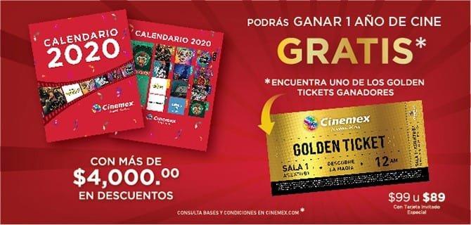 Cinemex: Calendario 2020, $ 99 (89 con Invitado especial)